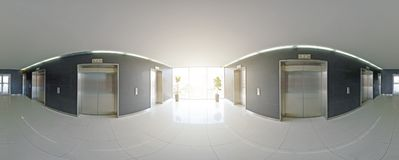 Spherical 360 degrees panorama projection, panorama in interior empty long corridor with doors and entrances to different rooms an. D lift Stock Image