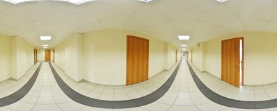 Spherical 360 degrees panorama projection, panorama in interior empty long corridor with doors and entrances to different rooms. royalty free stock photo