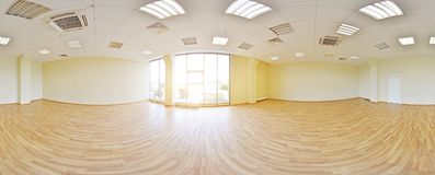 Spherical 360 degrees panorama projection, panorama in interior empty room in modern flat apartments. Spherical 360 degrees panorama projection, panorama in Royalty Free Stock Photo