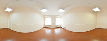 Spherical 360 degrees panorama projection, panorama in interior empty room in modern flat apartments. Spherical 360 degrees panorama projection, panorama in Stock Images
