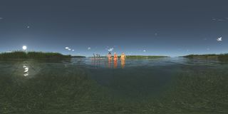 Spherical 360 degrees seamless panorama with bathing women and dwarfs on a raft. Computer generated 3D illustration with a spherical 360 degrees seamless Stock Images