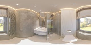 Spherical 360 degrees, seamless panorama bathroom interior design stock photography