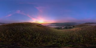 Foggy sunrise at riverside spherical panorama. Spherical 360 degrees seamless panorama in equirectangular projection, panorama of natural landscape on river stock image