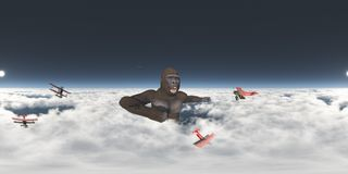 Spherical 360 degrees seamless panorama with giant gorilla and biplanes. Computer generated 3D illustration with a spherical 360 degrees seamless panorama of Royalty Free Stock Photo