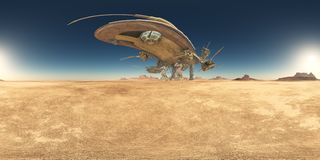 Spherical 360 degrees seamless panorama with a huge spacecraft in a desert stock illustration