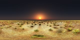 Spherical 360 degrees seamless panorama with a sunset over a steppe. Computer generated 3D illustration with a spherical 360 degrees seamless panorama of a Stock Images