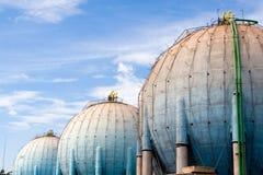 Spherical deposits. Spherical fuel deposits in a refinery Royalty Free Stock Photo