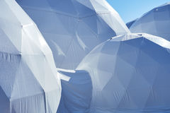 Spherical domes. Multiple domes, spherical pavilion, exhibition tents, light construction royalty free stock photos