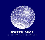 Spherical drop of water on a blue background Royalty Free Stock Images