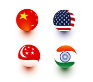 Spherical Flags. Flag illustration in sphere shape of China, USA, Singapore, and India Stock Image