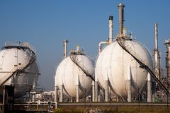 Spherical gas tank farm Stock Photography