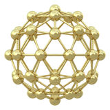 Spherical golden molecular grid Royalty Free Stock Photo