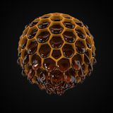 Spherical honeycomb with flowing honey. 3d illustration vector illustration