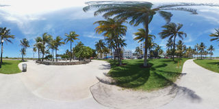 Spherical 360 image of Miami Beach Royalty Free Stock Photos