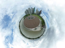 Spherical image of a park and many high buildings Stock Photos