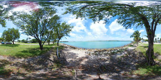 360 spherical image of a park scene by the bay Stock Photo