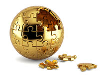 Spherical jigsaw puzzle. 3d rendering of a golden spherical jigsaw puzzle with gold segments isolated on white background Stock Photography