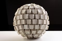 Spherical keyboard on table royalty free stock photos