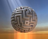 The Spherical Labyrinth. Labyrinths have been a part of spiritual and religious practice of millennia; have served as metaphors for confusion, challenge, or Stock Photo