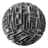 Spherical maze. 3d spherical maze. White background Stock Photography