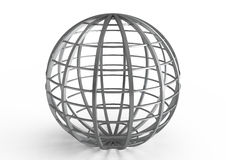 Spherical metal construction isolated on white Royalty Free Stock Images