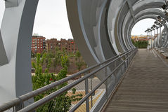Spherical metal modern bridge Madrid, Spain Stock Photo