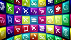 Spherical Mobile Application Icons. A concave 3d illustration of futuristic mobile application icons on a pc screen located aslant. The icons are square and Royalty Free Stock Photos