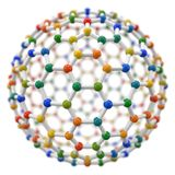 Spherical molecule model on white background. Royalty Free Stock Images