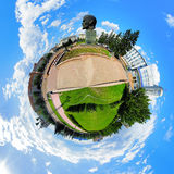 Spherical panorama of the central square of Ulan-Ude, Russia Royalty Free Stock Photo