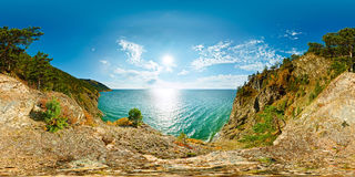 360 180 spherical panorama of a cliff above the water Baikal Sea Stock Photography