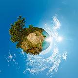 360 180 spherical panorama of a cliff above the water Baikal Sea Royalty Free Stock Photo