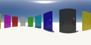 Spherical panorama of colorful doors. Blue sky as Royalty Free Stock Image