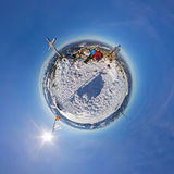 360 spherical panorama couple in snowy mountains Stock Image