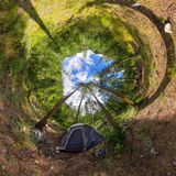 Spherical panorama 360 degrees 180 tent on camping in the forest. Vr content Royalty Free Stock Photography
