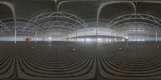 Spherical panorama of indoor construction site Stock Photo