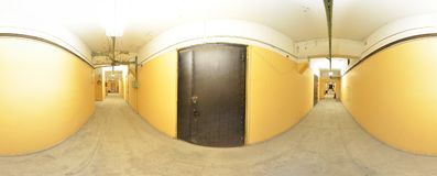 Spherical panorama inside abandoned old dirty corridor room in building. Full 360 by 180 degree in equirectangular projection. Spherical panorama inside Stock Photo