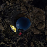 Spherical panorama 360 180 of man at tent on stone beach on shor. E of Lake Baikal at night Stock Image