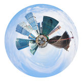 Spherical panorama of Moscow city towers Stock Photo
