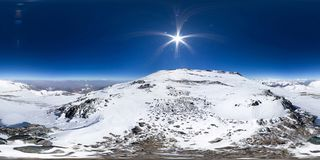 Free Spherical Panorama Of The Pamir Mountain. Slope Of Lenin Peak To An Altitude Of 7100 Meters. Spherical Panorama 360 Stock Images - 164039584