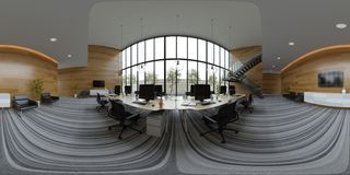Spherical 360 panorama projection Interior open space office 3D illustration royalty free illustration