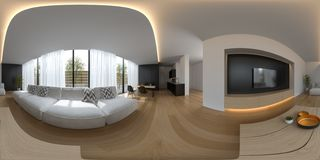 Spherical 360 panorama projection Scandinavian style interior design 3D rendering stock photo