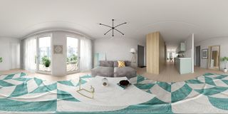 Spherical 360 panorama projection Scandinavian style interior design 3D rendering royalty free stock images