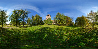 Spherical panorama of ruins of Lutheran church of 1481 in the se Stock Photo