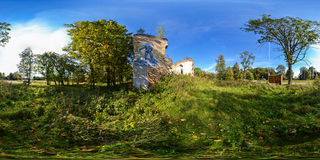 Spherical panorama of ruins of Lutheran church of 1481 in the se Stock Images