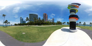 Spherical 360 photo South Pointe Park Miami Beach Royalty Free Stock Image