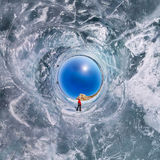 The spherical polar panorama of 360 people at the rock on the ic Royalty Free Stock Photos