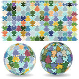 Spherical puzzles with pattern Royalty Free Stock Image
