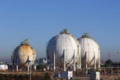 Spherical silos and tanks Royalty Free Stock Photos