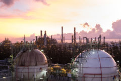 Spherical storage gas in petrochemical plant at dawn Royalty Free Stock Photo