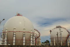 Spherical tanks in refineries Stock Image